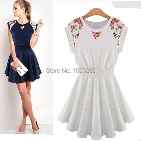 45c8e4cd27f Get Quotations · 2015 Sexy Lace Women Dress Europe and America Cotton Women  Dress Ladies Pleated Dress plus size