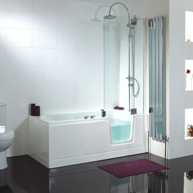 Acrylic Lowes Walk In Bathtub With Shower Long Glass Door