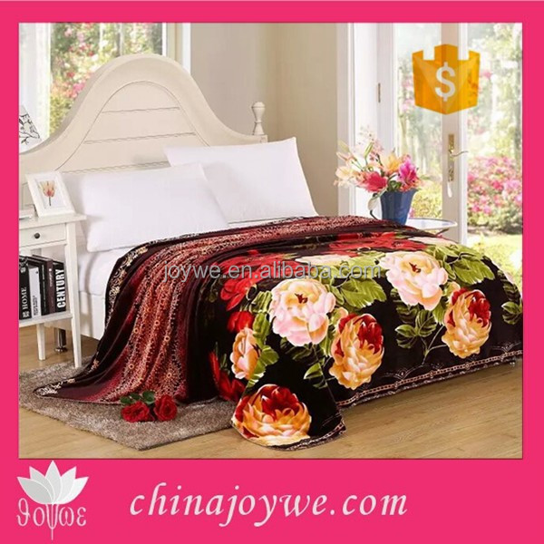 Colorful Floral Flannel Blanket Bedspread Bed Coverlet Queen/Full Size Matna Blanket