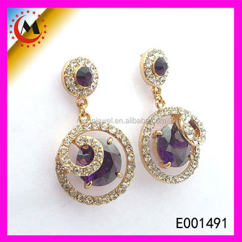 Dubai Gold Jewelry Earrings New Fashion Earring With Purple Zircon Alibaba Express Hot