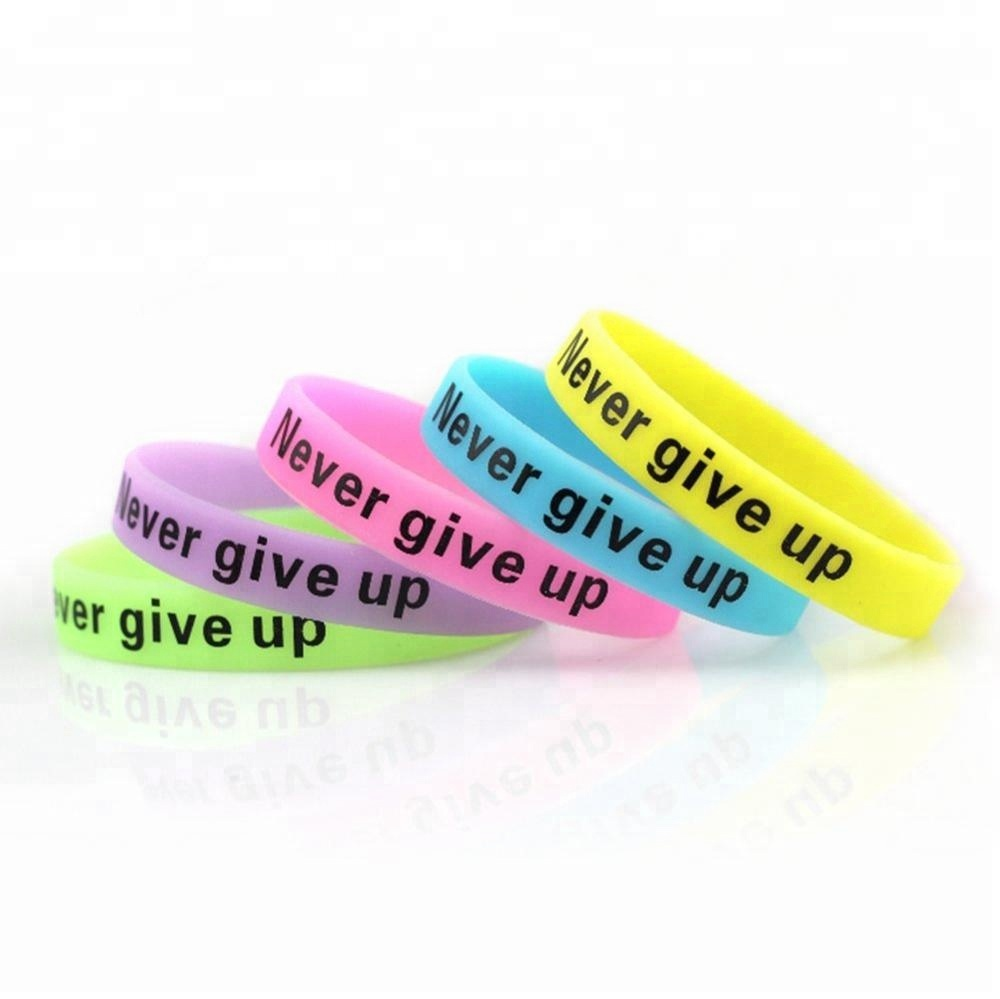 Customized Glow In The Dark Silicone Wristband Cheap Price Wholesale, Various color silicon wristband
