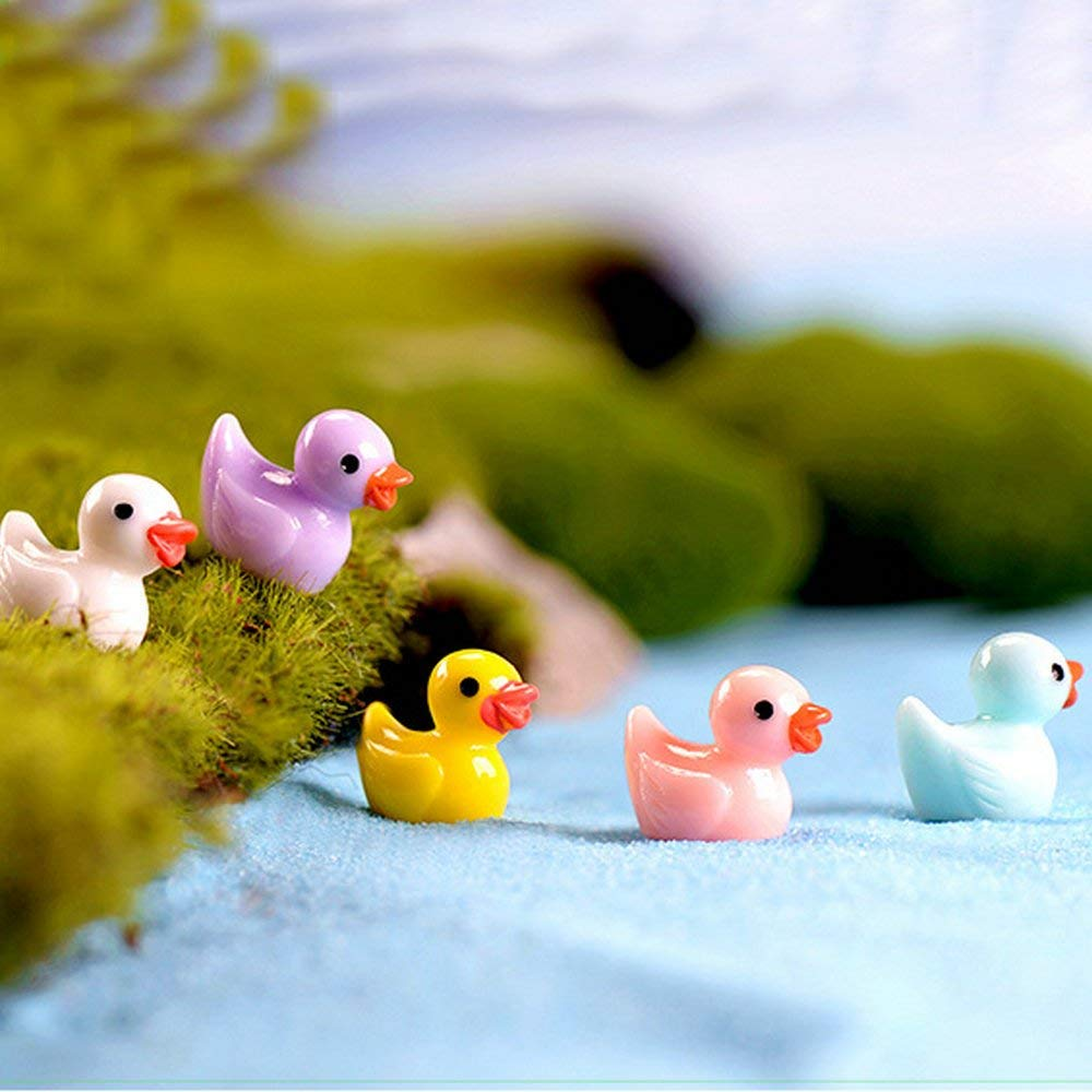 TATEELY 25 Pcs Mini Colorful Resin Duck Miniature Ducks Flatback Micro Landscape Decoration Resin Crafts ornaments Home Decor
