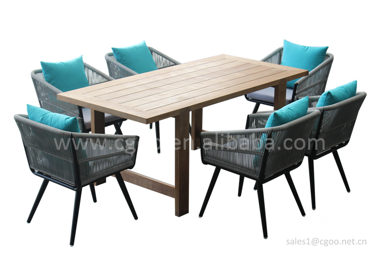 Outdoor Rope Chairs Mesa de Patio Outdoor Wooden Table Sets Patio Dining Table Rope Chair