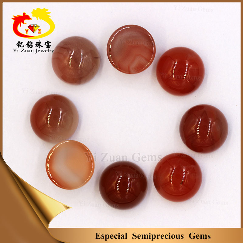 Wholesale natural rough gemstone red agate 8mm round cabochons