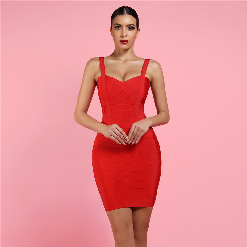 New Clothing Summer Club Wear Women Red Sexy Bodycon Bandage Party Dress Rayon фото