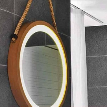 Norhs designer unique wall leather hanging rustic circle natural wooden frame mirrors for living room decor
