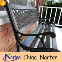 Customized black sturdy waterproof wrought iron garden bench NTIRH-026L