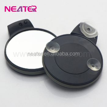 Travel Round Suction Cup Magnifying Mirror With Lightwall Mounted
