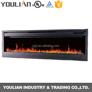 wall mounted&insert electric fireplace with flat tempered glass facial