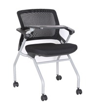 School Student Metal Mesh Folding Adult Study Table Chair With Writing Pad,Meeting Chair