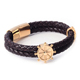 High Quality Fashion Stainless Steel Jewelry Men Genuine Brown Leather Bracelet