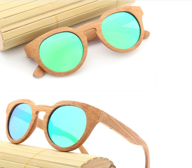00d1519bf5 custom logo retro small round wood frame bamboo wood hand polished  sunglasses with polarized lens TAC