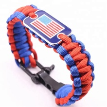 Officer Thin Blue Line Paracord สร้อยข้อมือ Charm