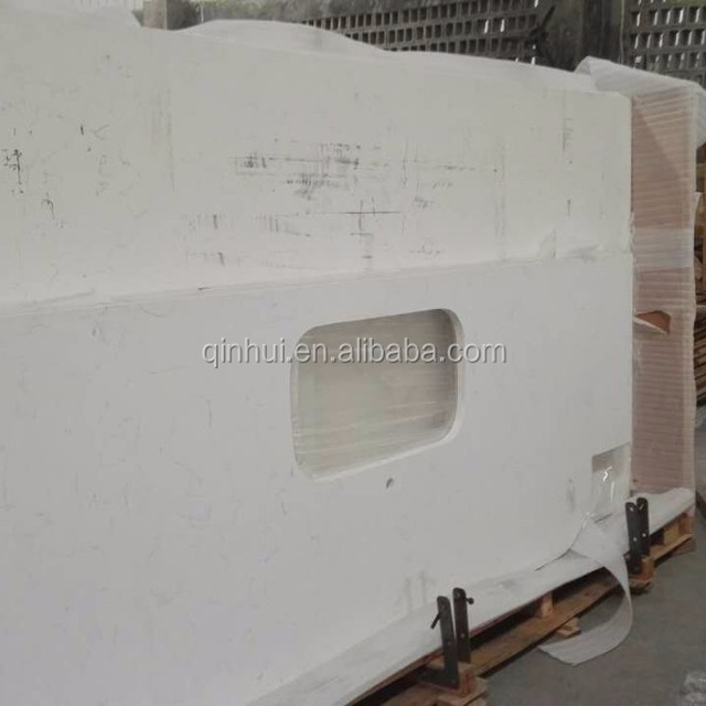 Engineering Carrara White Quartz Countertop,artificial Marble Veined White Quartz  Countertop