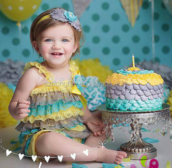 e199e7ce8a65 Yellow grey teal Lace Petti Rompers Baby Cake Smash Ruffle Rompers 1st  Birthday Outfit Photo Prop Baby Clothing - Buy Baby Birthday Outfits