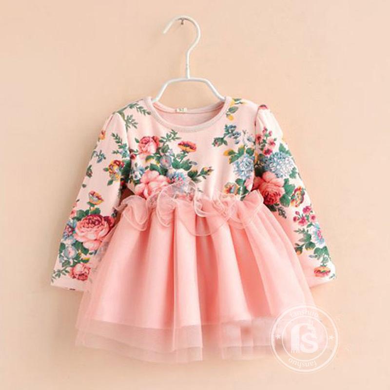 e54233bfd9a9 2014 venda quente crianças roupas de bebê e patchwork de renda meninas  print floral vestido de