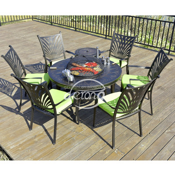 Whole Derong Factory Garden Set Cast Aluminum Bbq Grill Outdoor Metal Family Life Table And