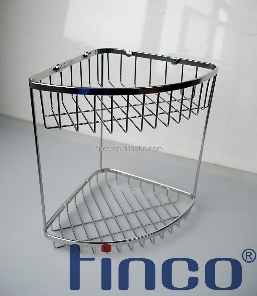 Chrome Plate Stainless Steel Shower Basket Shelves,2 Tiers Corner ...