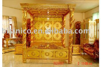 Luxury gold color hand carving wooden bedroom set, canopy king bed,dresser,  View antique bedroom set, BISINI Product Details from Zhaoqing Bisini ...