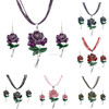 Fashion Jewelry Sets Wholesale Factory Price Multi-layer Leather Chain Enamel Flower Pendant Necklace Drop Earrings Women