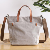 Canvas tote bag zipper printed cotton shopping messenger tote bag gift handbag with shoulder strap