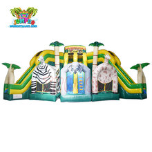 used commercial grade cheap price jungle theme giant inflatable trople lanes slide for sale