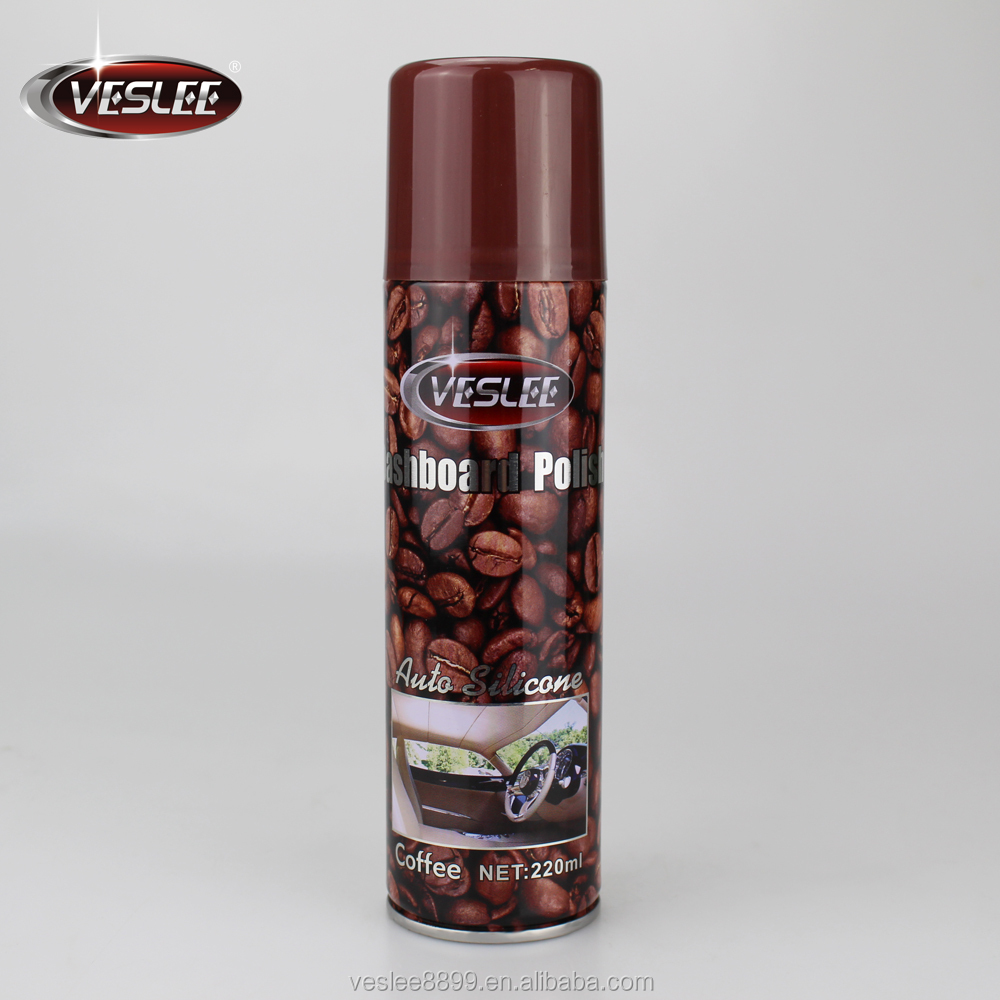 Various smells aerosol product dashboard and leather detail polish spray with wax