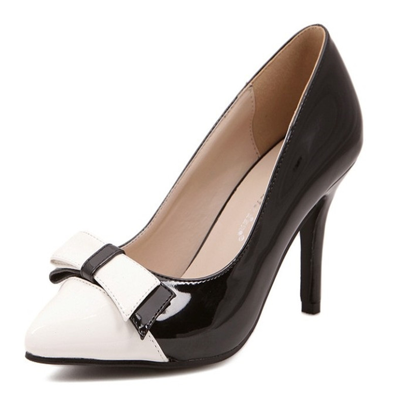 82166eca30d9e Get Quotations · High Heel Shoes 2015 Pointed Toe Sexy High Heels Bow Thin Heel  Shoes Women Office Shoes
