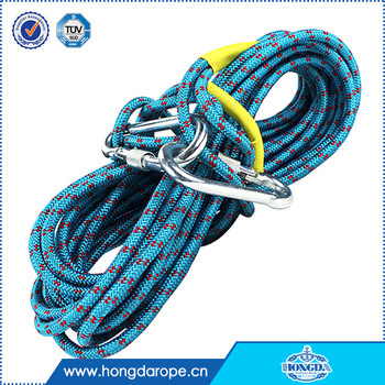8MM Polyester braided static rock climbing rope high breaking strength braided safety rope