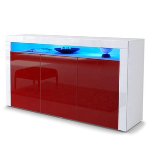 High Gloss Red Color Industrial Modern Sideboard