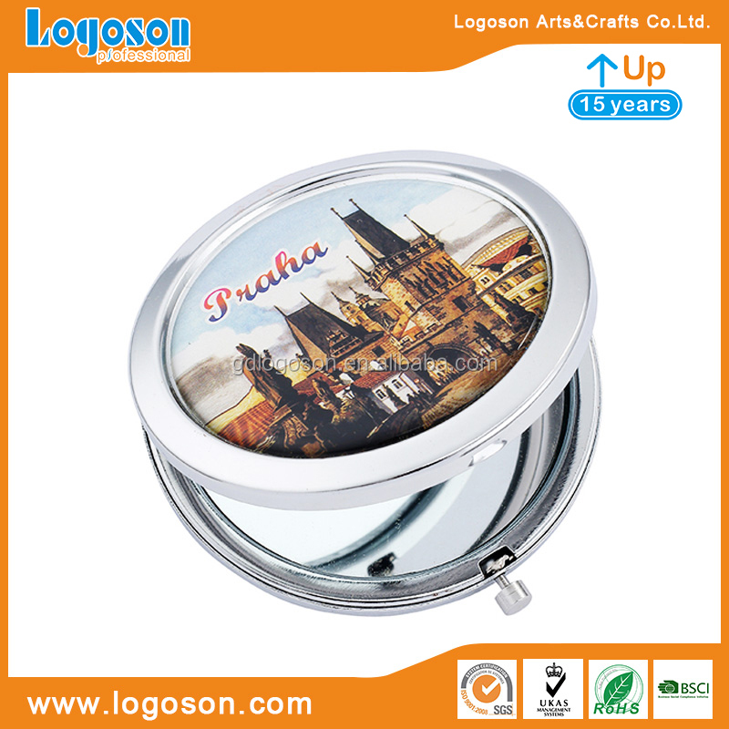 Metal Praha Tourism Magnificent Buildings Mirrors Antique Pocket Mirror