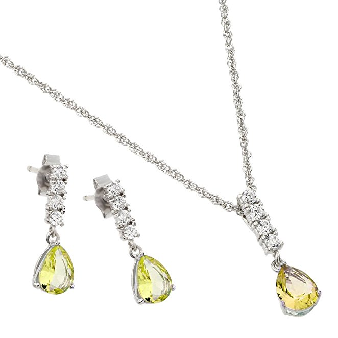 Sterling Silver Prong Set Pear Cut CZ Month Journey Earring Necklace Set