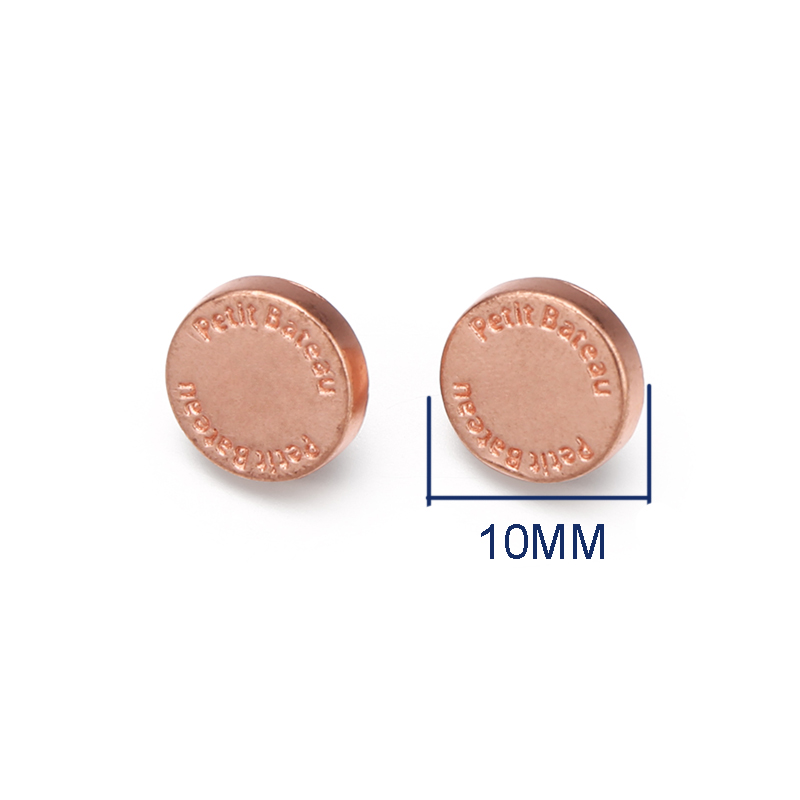 Custom Brand Engraved Logo Metal Rose Gold Sewing Shank Buttons For Shirts