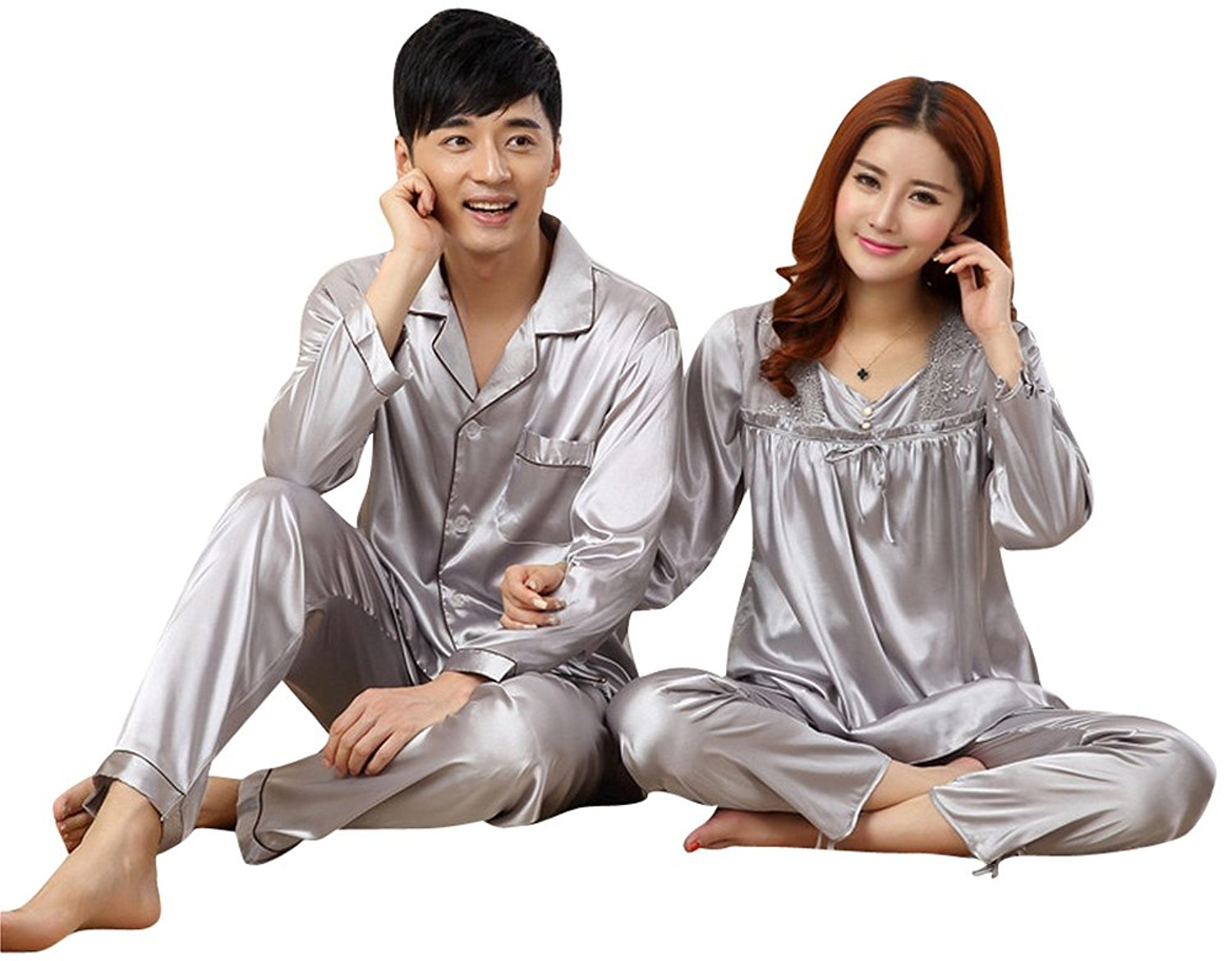 d347b580a7 Get Quotations · Riatiu Casual Matching Couples Silk Men Women Pajamas  Loungewear Set