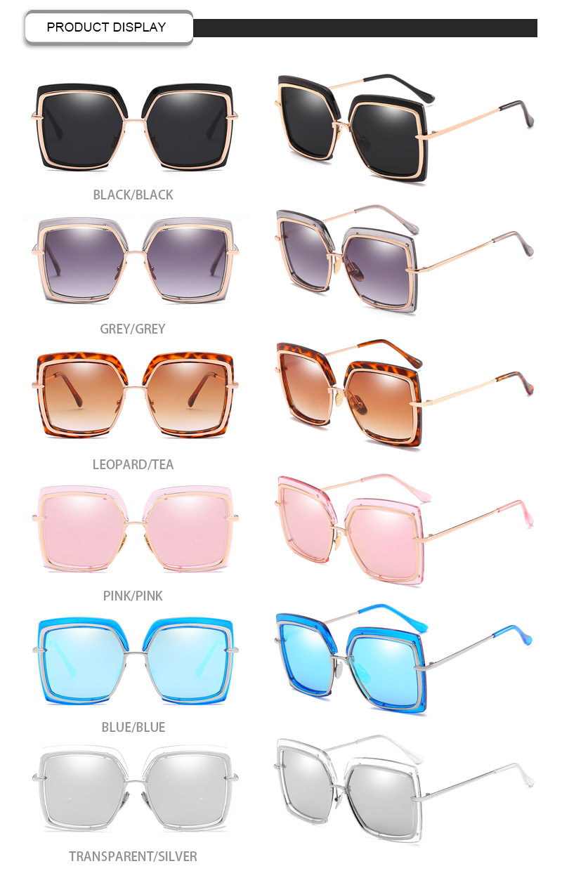 Fashion Oversized Mirror Metal Women UV400 Designer oculos Sunglasses