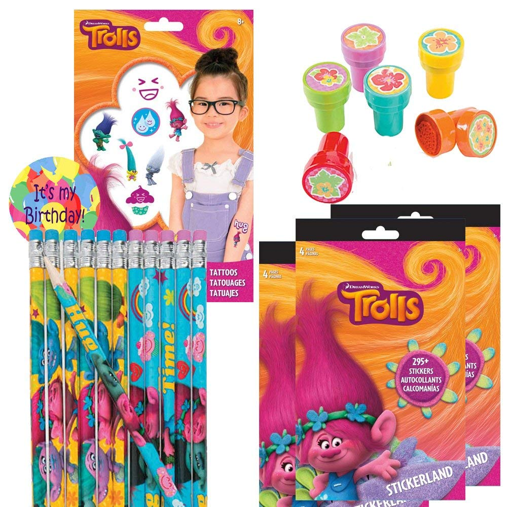 Troll Party Favors For 12 Kids - Troll Sticker Sheets (12), Troll Pencils (12), Troll Tattoos (75), Flower Stampers (12) and a Birthday Sticker (124 pieces)