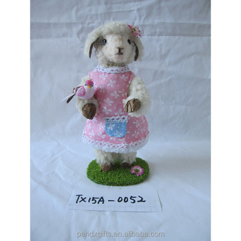 Easter Lovely Polyfoam Pink Dress Standing Sheep With Bird Home Decoration