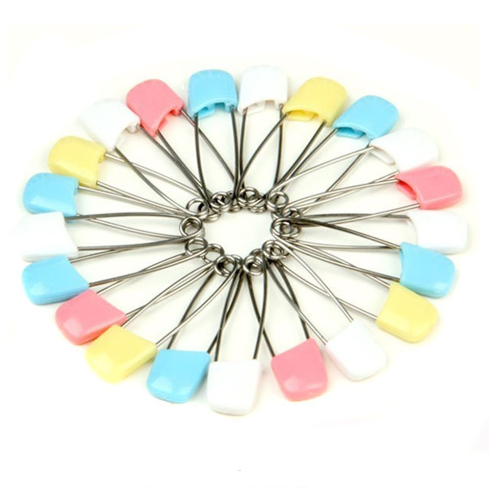 Blue AEXGE/™ Plastic Head Baby Safety Pin Diaper Pins 1.5inch Cloth Nappy Safety Pins,Pack of 100