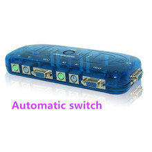 Stock PS/2 KVM Switch 4ports PS2 KVM Switch Box for Control 4 ComputersMonitor Mouse Keyboard Automatic  Free Shipping