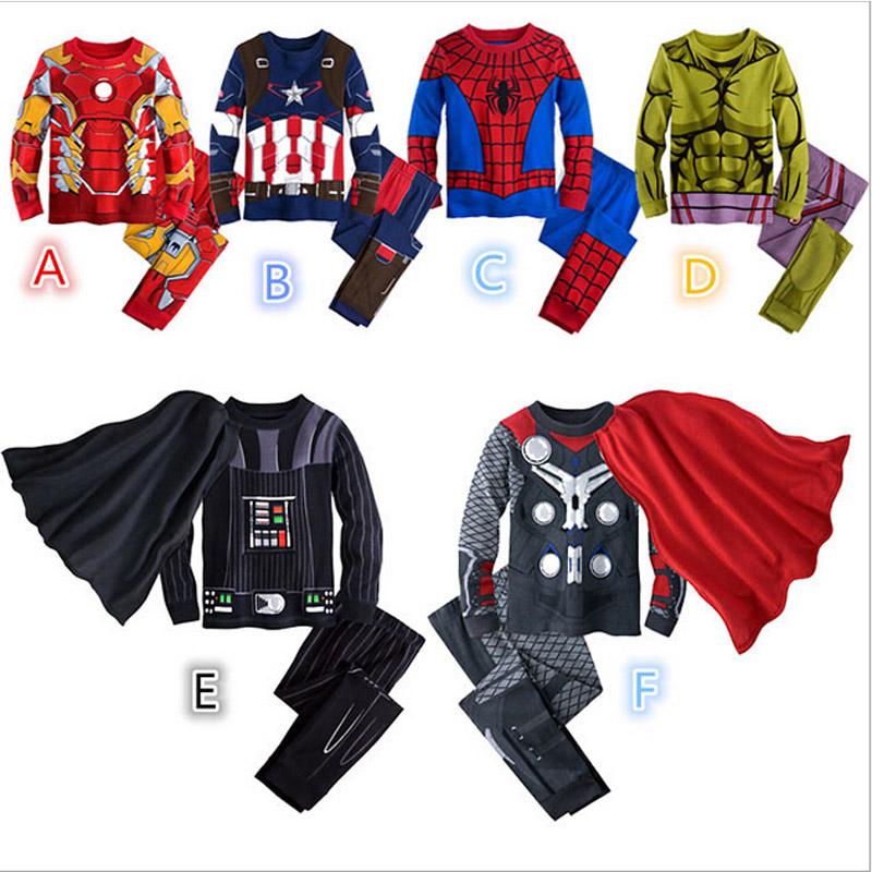 2016 Spiderman Children Boys Avengers Comics Sleepwear Kids Super Heros Pajamas Sets Size 2 10T Children