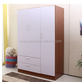 HX MZ670 White Color Wooden Furniture Clothes Cabinet
