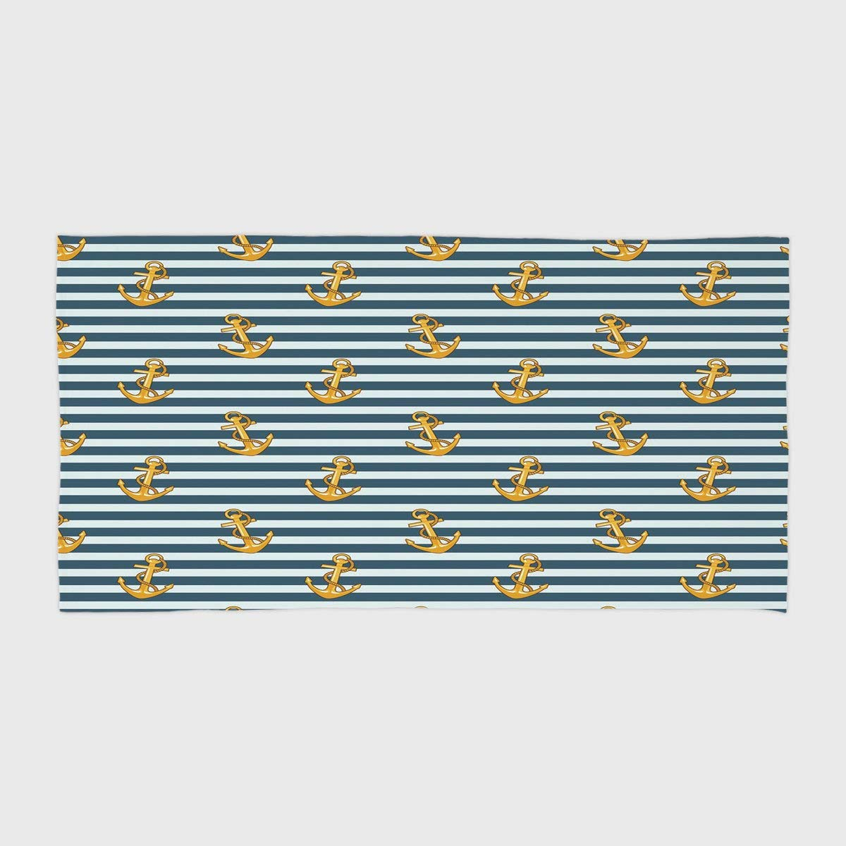 One Side Printing Hotel SPA Beach Pool Bath Hand Towel,Harbour Stripe Old Fashion Stylish Nautical Fashion with Anchors Coast Theme Decorative Earth Yellow Slate Blue,for Kids Teens and Adults