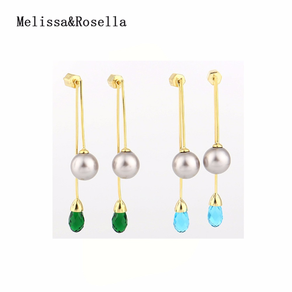 2017 <strong>Fashionable</strong> 925 Sterling Silver Waterdrop Crystal Pearl Stick Tassel Stud Earrings For Women