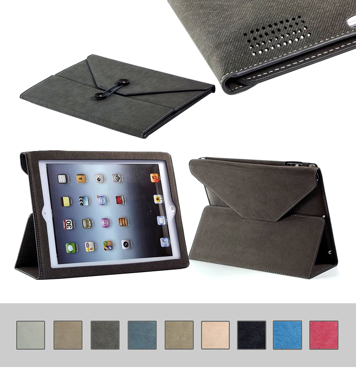 BTM Denim Envelope Jean Portfolio Case Cover Protector for Apple iPad 2nd 2, 3, 4th 4 Generation Retina Display w/ Elastic Strap & Great Holder | Cute For The Girly Girl | Protective Durable Designer Stand | Cheap Price, Great Value - Dark Brown