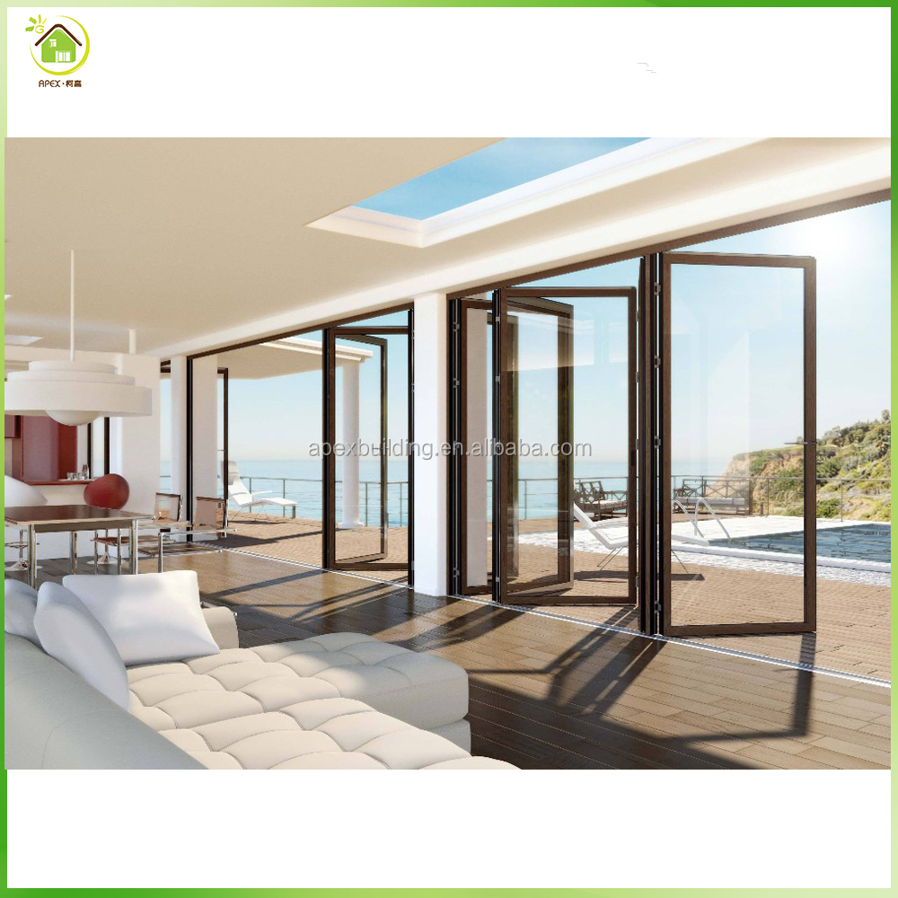 House double glass frameless folding glass doors, large exterior aluminum folding door
