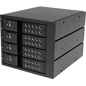 """StarTech.com 4 Bay Aluminum Trayless Hot Swap Mobile Rack Backplane for 3.5in SAS II/SATA III - 6 Gbps HDD - 4 x HDD Supported - 4 x Total Bay - 4 x 3.5"""" Bay - 6Gb/s SAS, Serial ATA/600 - 6Gb/s SAS, Serial ATA/600 - Aluminum - Cooling Fan - 5.25"""" - HSB4SATSASBA"""