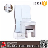 Foshan factory custom MDF wood modern white dressing table mirror for bedroom