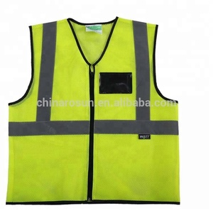 safety vest with ID pvc transparent pockets traffic 100% polyester mesh fabric hi viz reflective safety vests with zipper