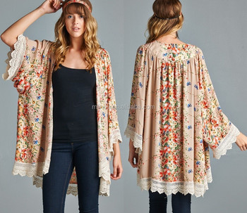 Wholesale Floral Print Crochet Trim Longline Open Cardigan - Buy ...