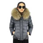 Coat High Quality Simple Style Down Coat With Real Raccoon Fur Hood